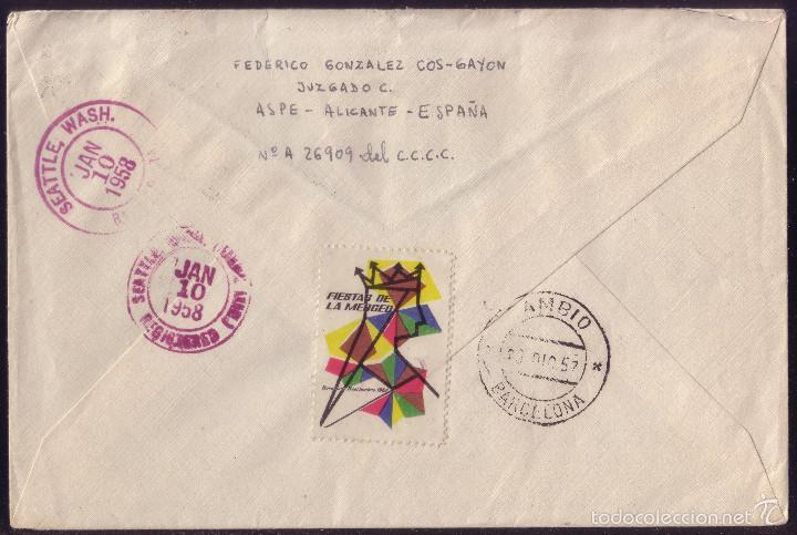 ESPAÑA. (CAT. 1072,1158,1193,1196). 1957. SOBRE CERT. DE ASPE (ALICANTE) A EE.UU. DORSO VIÑETA. RARO (Sellos - España - II Centenario De 1.950 a 1.975 - Cartas)
