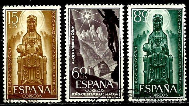 ESPAÑA 1956- EDI 1192/1194 (SERIE: MONTSERRAT) USADOS (Sellos - España - II Centenario De 1.950 a 1.975 - Usados)