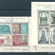 Sellos: 2 HOJITAS BLOQUE Nº 2252/3 (EDIFIL). AÑO 1975. EXPOSICIÓN MUNDIAL DE FILATELIA.. Lote 57818694