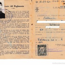 Sellos: 1964 VALENCIA SELLOS SERVICIO SOCIAL 50 CTS Y 3 PTS LIBRETA AJUSTE TRABAJOS. FALANGE DE LAS JONS. Lote 58085267