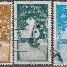 Sellos: EDIFIL 1180/2, CENTENARIO DEL TELEGRAFO, USADOS EN SERIE COMPLETA. Lote 58154485