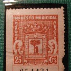Sellos: SELLO - FISCAL - IMPUESTO MUNICIPAL - MADRID - 25 CÉNTIMOS - TIMBRE -. Lote 58363467