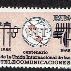 Sellos: CENTENARIO DE LA UNIÓN INTERNACIONAL DE LAS TELECOMUNICACIONES. 1965. EDIFIL 1670. ÓXIDO(67).. Lote 58963945