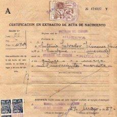 Sellos: CERTIFICADO EN EXTRACTO DE ACTA DE NACIMIENTO. JUSTICIA MUNICIPAL. . Lote 61131431