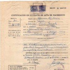 Sellos: CERTIFICADO EN EXTRACTO DE ACTA DE NACIMIENTO. SELLO DE LEGITIMACIONES.. Lote 61131559