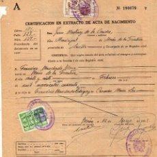 Sellos: CERTIFICACIÓN EN EXTRACTO DE ACTA DE NACIMIENTO. . Lote 61132335