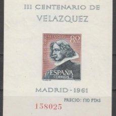 Sellos: EDIFIL 1344, AUTORRETRATO DE VELAZQUEZ, NUEVO *** EN HOJA BLOQUE SIN DENTAR. Lote 61841804