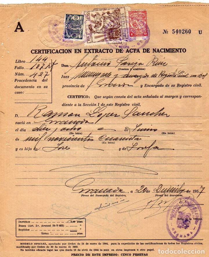 certificado en extracto de acta de nacimiento. - Comprar sellos ...