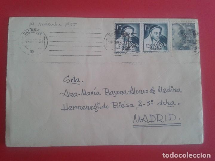 CARTA CIRCULADA DE VALENCIA A MADRID. MATASELLOS FECHADOR DE RODILLO. 1955 (Sellos - España - II Centenario De 1.950 a 1.975 - Cartas)