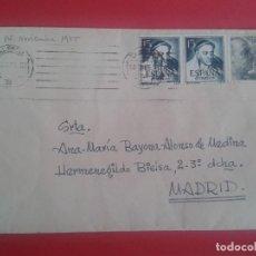 Sellos: CARTA CIRCULADA DE VALENCIA A MADRID. MATASELLOS FECHADOR DE RODILLO. 1955. Lote 64867291