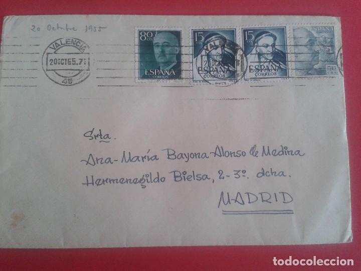CARTA CIRCULADA DE VALENCIA A MADRID CON MATASELLOS DE RODILLO VALENCIA. (Sellos - España - II Centenario De 1.950 a 1.975 - Cartas)