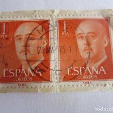 Sellos: 2 SELLOS DE ESPAÑA DE 1 PESETA CADA UNO. FRANCO. Lote 65991266