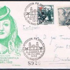 Sellos: 1953.- LAS PALMAS (CANARIAS) A BARCELONA. Lote 68035969