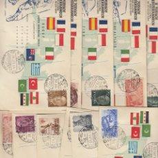 Sellos: ESPAÑA - SPAIN. JUEGOS DEL MEDITERRÁNEO DE 1955. JUEGO COMPLETO DE 20 SOBRES.. Lote 70143689
