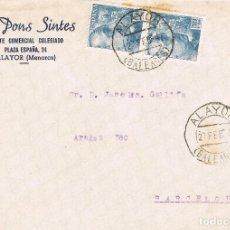 Sellos: 048. FRONTAL COMERCIAL ALAYOR (BALEARES) 1954. AGENTE COMERCIAL PONS SINTES. Lote 71865859