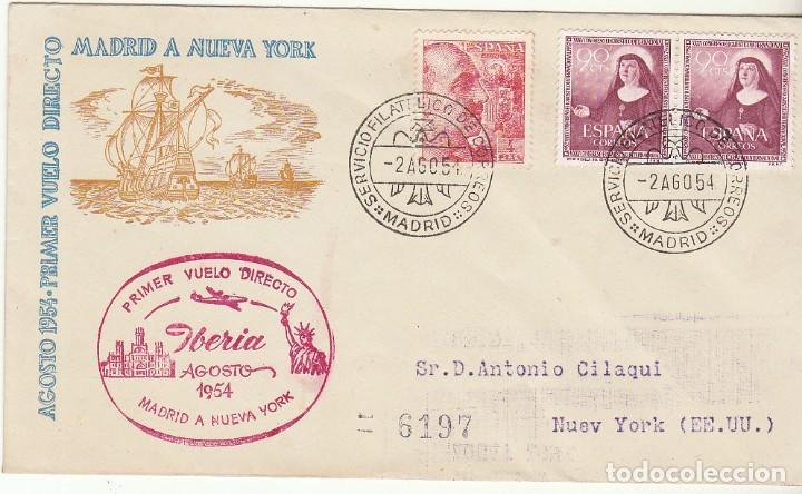 PRIMER VUELO DIRECTO: MADRID A N. YORK. 1954. (Sellos - España - II Centenario De 1.950 a 1.975 - Cartas)