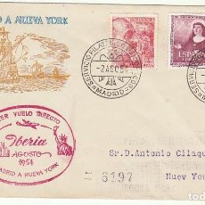 Sellos: PRIMER VUELO DIRECTO: MADRID A N. YORK. 1954.. Lote 72006307