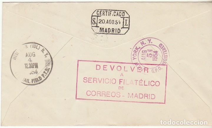 Sellos: PRIMER VUELO DIRECTO: MADRID a N. YORK. 1954. - Foto 2 - 72006307