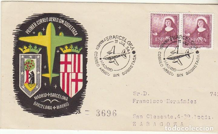 PRIMER CORREO AÉREO SIN SOBRETASA : MADRID A BARCELONA (ZARAGOZA). 1954. (Sellos - España - II Centenario De 1.950 a 1.975 - Cartas)