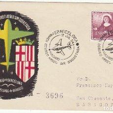 Sellos: PRIMER CORREO AÉREO SIN SOBRETASA : MADRID A BARCELONA (ZARAGOZA). 1954.. Lote 72007991