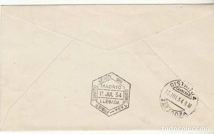 Sellos: PRIMER CORREO AÉREO SIN SOBRETASA : MADRID A BARCELONA (ZARAGOZA). 1954. - Foto 2 - 72007991