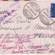 F4-32- Carta ZUMAYA Guipuzcoa- PARIS 1958. Reexpedida Varias veces. Ver numerosas Marcas