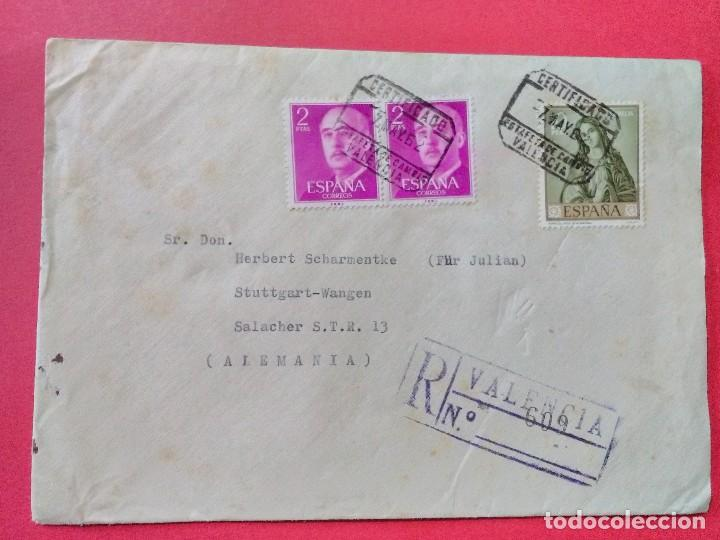 CARTA CIRCULADA CON MATASELLOS CERTIFICADO DE LA ESTAFETA DE CAMBIO DE VALENCIA. (Sellos - España - II Centenario De 1.950 a 1.975 - Cartas)
