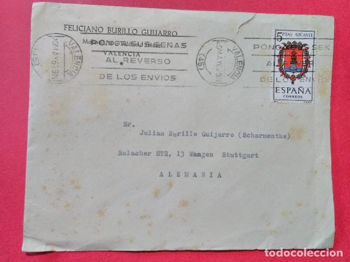 CARTA CIRCULADA CON MATASELLOS DE RODILLO. VALENCIA. (Sellos - España - II Centenario De 1.950 a 1.975 - Cartas)