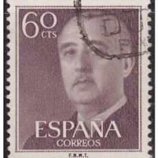 Sellos: ESPAÑA SPAIN AÑO YEAR 1955 EDIFIL Nº 1150 - USADO (O) USED (O) - GENERAL FRANCO - 60 CTS. Lote 195379203