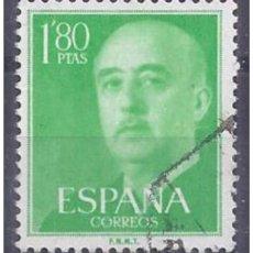 Sellos: ESPAÑA SPAIN AÑO YEAR 1955 EDIFIL Nº 1156 - USADO (O) USED (O) - GENERAL FRANCO - 1,80 PTAS. Lote 195379237