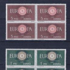 Sellos: EDIFIL 1294-1295 EUROPA-CEPT 1960 (SERIE COMPLETA EN BLOQUES DE 4). VALOR CATÁLOGO: 8,80 €. MNH **. Lote 76963373