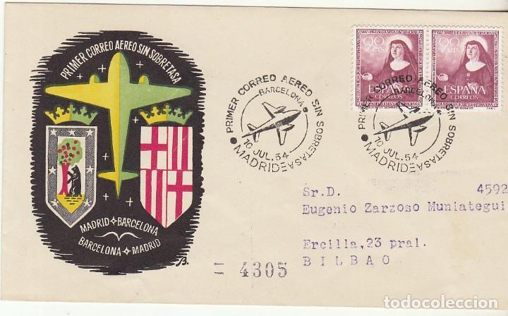 CORREO AEREO SIN SOBRETASA : MADRID-BARCELONA .BILBAO. 1954. (Sellos - España - II Centenario De 1.950 a 1.975 - Cartas)