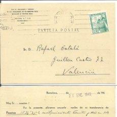 Sellos: CAJA DE JUBILACIONES Y SUBSIDIOS. CASTILLO LA MOTA. 35CTS. 22 DE ENERO DE 1949. BARCELONA VALENCIA.. Lote 80978032