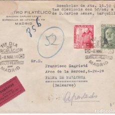 Sellos: F15-76- CARTA REEMBOLSO MADRID - PALMA MALLORCA 1950.LUJO. Lote 82255292