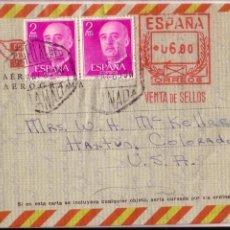 Historia Postal Emisión FRANCO 1955. Raro Aerograma GRANADA -USA 1969