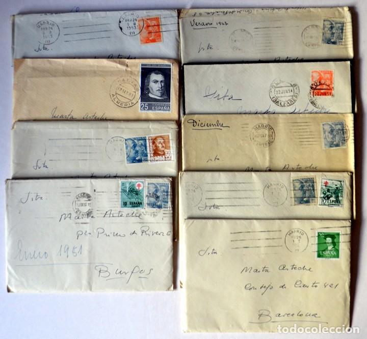 LOTE DE 9 SOBRES FRANQUEADOS (Sellos - España - II Centenario De 1.950 a 1.975 - Cartas)