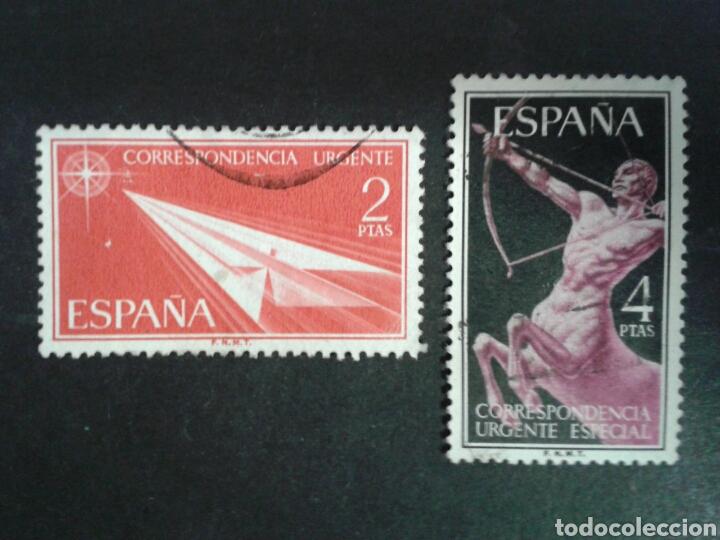 ESPAÑA. EDIFIL 1185/86. SERIE COMPLETA USADA. 1956. CORREO URGENTE. (Sellos - España - II Centenario De 1.950 a 1.975 - Usados)