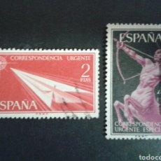 Sellos: ESPAÑA. EDIFIL 1185/86. SERIE COMPLETA USADA. 1956. CORREO URGENTE.. Lote 91872404