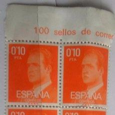 Sellos: ESPAÑA AÑO 1977. S.M. DON JUAN CARLOS I. 0,1 PTS, BLOQUE DE 4 NUEVO . Lote 96020763
