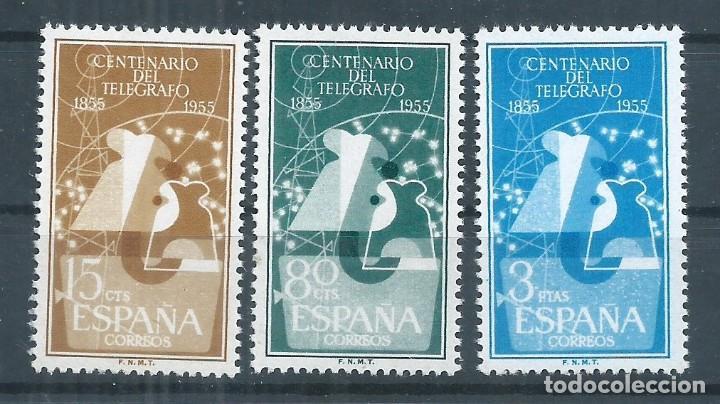 R17.G11/ ESPAÑA 1955, EDF. 1180/82, CAT. 40,75€, I Cº DEL TELEGRAFO, NUEVOS CON GOMA SIN FIJASELLOS (Sellos - España - II Centenario De 1.950 a 1.975 - Nuevos)