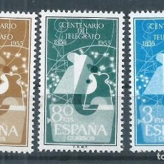 Sellos: R17.G11/ ESPAÑA 1955, EDF. 1180/82, CAT. 40,75€, I Cº DEL TELEGRAFO, NUEVOS CON GOMA SIN FIJASELLOS. Lote 96513699