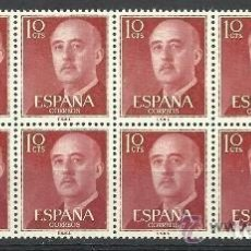 Sellos: 1955/6 GENERAL FRANCO. B/10. EDIF. 1143.**,MNH. Lote 97831483