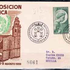 Sellos: 1959.- TORRENTE (VALENCIA) A SEVILLA. Lote 97862503