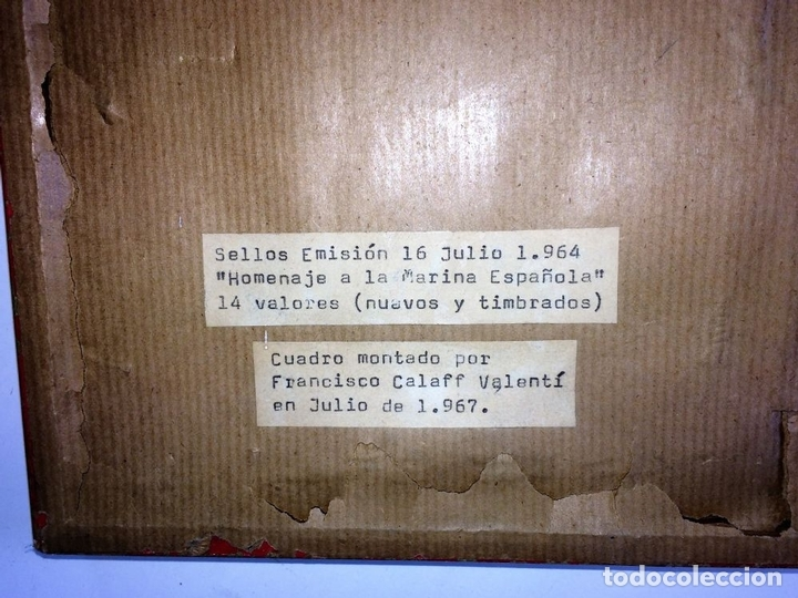 Sellos: HOMENAJE A LA MARINA ESPAÑOLA. SELLOS. 14 VALORES. ENMARCADOS.ESPAÑA. JULIO 1964 - Foto 7 - 98480711