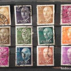Sellos: 12 SELLOS 1955 GENERAL FRANCO FRANQUEADOS. Lote 98624935