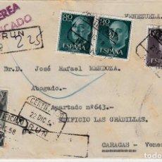 Sellos: CARTA DIRIGIDA A VENEZUELA POR CORREO CERTIFICADO DESDE IRÚN CON EL SELLO NUM 1164 --FORTUNY--. Lote 100522435