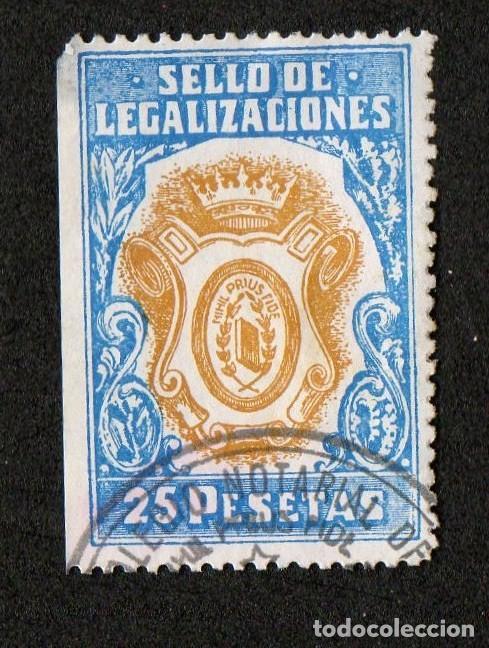 SELLO DE LEGALIZACIONES 25 PTAS (Sellos - España - II Centenario De 1.950 a 1.975 - Usados)