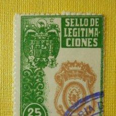 Sellos: POLIZA - TIMBRE - SELLO - LEGITIMACIONES - 25 PESETAS - AÑOS 70. Lote 101247459