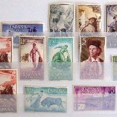Sellos: SELLOS ESPAÑA 1960. NUEVOS. EDIFIL 1254-1269. FIESTA NACIONAL: TAUROMAQUIA. TOROS Y TOREROS.. Lote 107020147