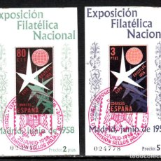 Sellos: EXPOSICIÓN DE BRUSELAS -EXP.FILATÉLICA NACIONAL NUMS. 1222-1223 PRIMER DIA CON FIJASELLOS. Lote 107271195